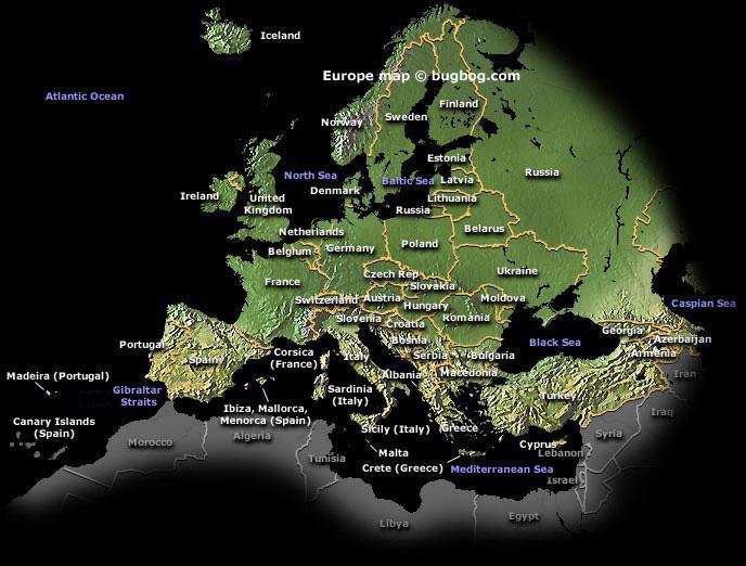 Evropa - mapa